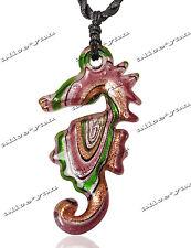 Purple Seahorse Animal Weave Black Cords Lampwork Glass Pendant Necklace