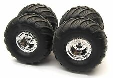 BIGFOOT WHEELS & TIRES (4 Updated Chrome preglued Traxxas Skully Craniac 36084-1