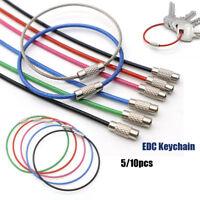 Rope Screw Wire Keyrings EDC Keychain Stainless Steel Carabiner Key Holder