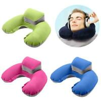 Soft Inflatable U-shaped Neck Support Pillow Cushion Travel Air Plane Sleep KV