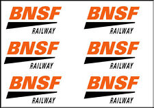 NEW PEEL AND STICK BNSF RAILWAY DECAL (6)  1 INCH X 1/2 INCH