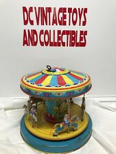 1950'S CHEIN PLAYLAND MERRY-GO-ROUND CAROUSEL TIN WIND UP TOY
