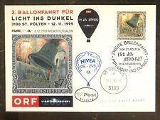 1999 St Polten Austria Balloon Night Flight Cover Fdc To Vienna