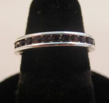 Size 7 Sterling Silver Plated Stackable January Garnet Wedding Eternity Ring