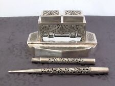 INKWELL CHINESE EXPORT SILVER ENCRIER ARGENT MASSIF ASIE