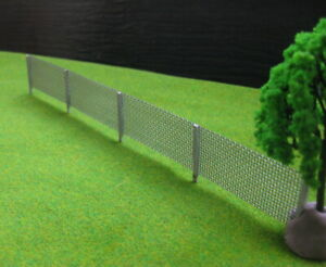 4pcs Model Railway Building Wooden Pole Metal Net Fence Wall 1:87 HO OO Scale