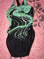 Speedo ~ Women's Green Black Splatter One-Piece Swimsuit Bathing Suit ~ 30