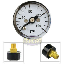 "1/8"" MNPT Mini Micro Air Pressure Gauge 0-160 PSI 1"" Face CBM Center Back Mount"