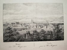 Basel Bale von St. Margarethen Dom  Schweiz seltener alter Kupferstich 1833
