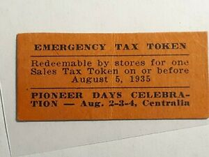 Centralia, Washington emergency sales tax token  WA-L8