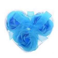 3 pz sapone petali di rosa Rosa blu doccia profumati con scatola cuore F5M4