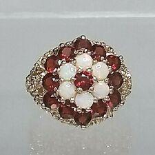 Vintage Statement Genuine 9ct gold Garnet and Opal Cluster ring