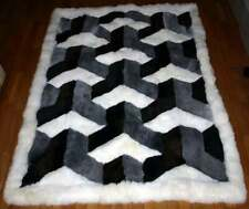 "Real Alpaca Fur Rug 40 x 45 IN black gray white Alpaca Rug. "" Y"" Home Decor Peru"