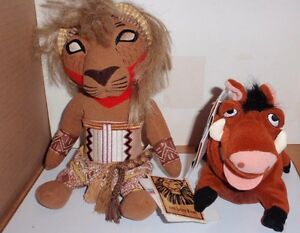 COLLECTIBLE DISNEY STORE BEANBAGS FROM THE LION KING SIMBA & PUMBAA WITH SOUND