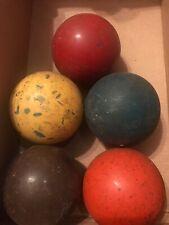 Antique Vintage 1950s OLD 5 WOOD SOLID COLORS COLOR CROQUET BALLS 5 FIVE COLORS