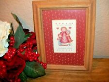 Wall Hanging Picture Give Love Gather Love Mother Child Boy Girl Oak Wood Frame