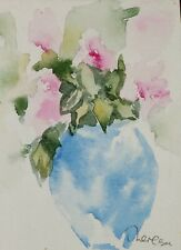 Original ACEO or ATC watercolor - Blue Vase with Pink Flowers