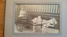 Vintage Antique Photo Child in Wagon Pulled By Goat Wilmington DE 1923