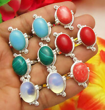 10PCS RING MALACHITE, CORAL & MIX GEMSTONE 925 STERLING SILVER OVERLAY