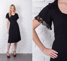 Vintage 40s 50s Black Cocktail Dress Party Lace Knee length XS