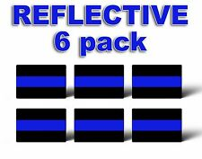 6 REFLECTIVE Pack THIN BLUE LINE License Plate Decals Stickers Police Trooper HD