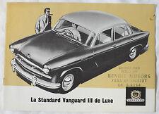 STANDARD VANGUARD III De LUXE brochure sales catalog - CANADIAN QUEBEC MARKET