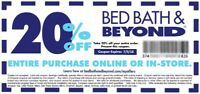 20% Off you Bed bath and beyond purchase, Email Delivery