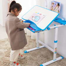 Desk And Chair Set Study Table With Led Light Bookstand Wood Tiltable For Kids