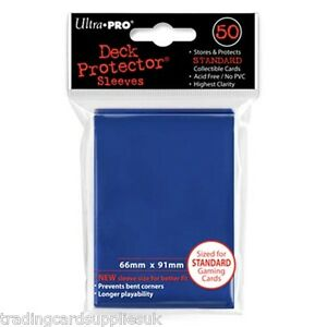 50 Ultra Pro Trading Card Sleeves - Standard Blue Deck Protectors.
