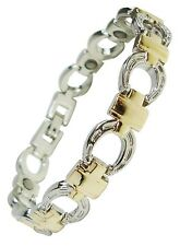 Womens Horseshoe Magnetic Therapy Bracelets Ladies Pain Relief Magnet Bangles Silver / Gold