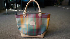 AUTH VINTAGE MULBERRY ENGLAND PLAID COATHED CANVAS /LEATHER BAG TOTE PURSE