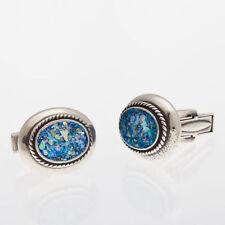 Stylish Men 925 Sterling Silver Authentic Roman Glass Cuff Links Jewelry