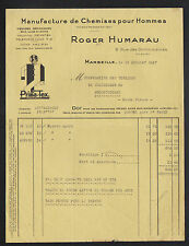 """MARSEILLE (13) USINE de CHEMISES pour HOMME / CONFECTION """"Roger HUMARAU"""" en 1937"""