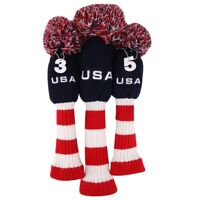 Black<Red<White Knit Headcover Golf Driver Fairway Headcover for Callaway Pom #3
