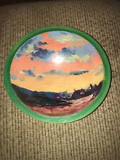 Artist Painted Wood Bowl 8 1/2� Signed