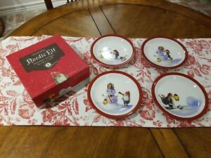 "Williams Sonoma Nordic Elf Christmas Dessert Plates 7"" Holiday Snowman Set of 4"