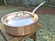 "Vintage Mauviel Made in France Copper 9.5"" Saute Pan W/Lid Bronze Handles"