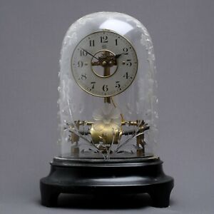 Early Electric Clock w Stunning Cut Crystal Dome ca 1920 Antique French Bulle