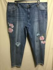 NWT LANE BRYANT WOMEN PLUS SIZE 26 STRETCH DISTRESSED EMBROIDERED JEANS #