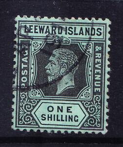 LEEWARD IS GV 1913 SG54a 1/- black on green white back wmk MCA very f/u. Cat £38