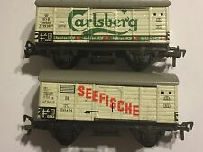 2 Fleischmann HO GAUGE MODEL TIN BOX WAGONS CARS DSB CARLSBERG + DB SEEFISCHE