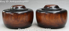 """6"""" China Wood Carving Wei Qi Weiqi Round Chess Piece Box Case Boxes Statue Pair"""