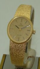 VINTAGE OMEGA 18K GOLD WOMEN's DeVILLE 20mm MANUAL WIND COCKTAIL WATCH C. 1979