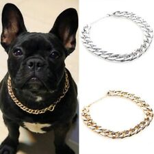 Pet Choke Chain Gold Silver Necklace Collar Cat Dog French Bulldog Puppy Teddy