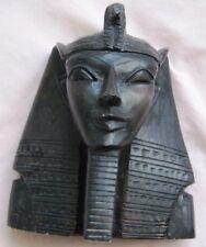 "Antique Egyptian Head of King Tutankhamen Plaster Sculpture 6 1/4""Hx5 1/4""Wx3"" D"