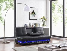 LED Black Faux Leather 3 Seater Sofabed Cupholder Padded Adjustable Arms New