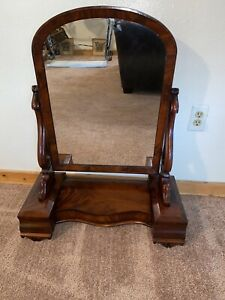 ANTIQUE SHAVING DRESSER TOP MIRROR Three drawers 36 x 24""