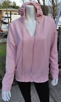Embrace Life18 Athleisure Peach/Pink Hooded Sweatshirt V-neck Long Sleeve  XL