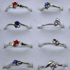 5Pcs Wholesale Mixed Lots Jewelry Crystal Rhinestone Silver Plated Rings