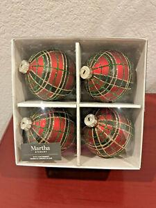 MARTHA STEWART Set of 4 Glass Christmas Ornaments Red Black Tartan Plaid ~NEW~